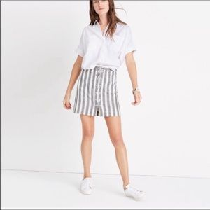 Madewell Black White Striped Lace Up Skirt 12